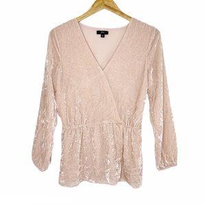 J. Crew Blush Pink Velvet Blouse Size 6T (Tall)
